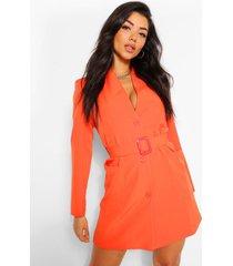blazer jurk met ceintuur en zak detail, oranje