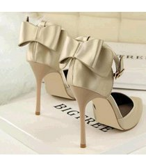 pp410 elegant pointy strappy ankle pump w big bowtie end,us size4-8.5,light gold