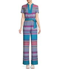 mixed-print short-sleeve jumpsuit