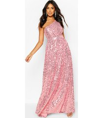 bridesmaid occasion shoulder sequin maxi dress, dusky pink