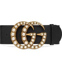 gucci pearl double g wide belt - black