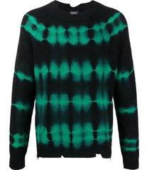 diesel tie-dye pullover jumper - black