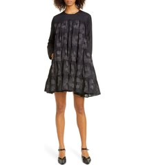 women's merlette soliman floral embroidered long sleeve cotton & silk shift dress