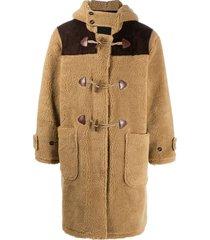 drôle de monsieur hooded duffle teddy coat - brown