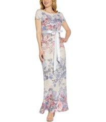 adrianna papell floral tie-waist gown