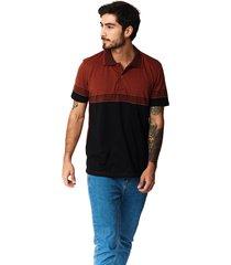 camiseta tipo polo-puntazul-terracota-41452