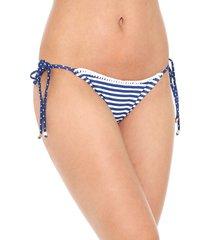 calcinha lili sampedro string bordada branca/azul-marinho