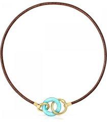 collar hold gems de oro vermeil y cuero con amazonita 912342590