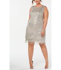 adrianna papell plus size hand-beaded fringe shift dress