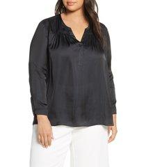 plus size women's nic+zoe destination split neck blouse