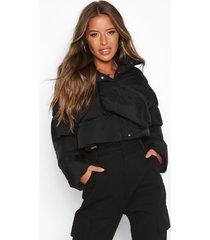 petite 2 in 1 padded jacket & bum bag, black