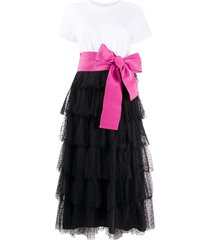 red valentino point d'esprit tulle tiered dress - white