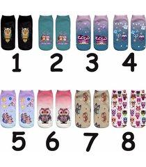owl printed socks funny owl 3d printing casual cartoon keep warm socks