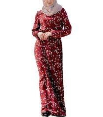 urban modesty women's black cherry drawstring maxi dress
