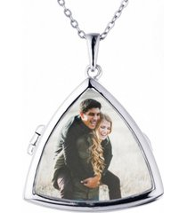 with you lockets lyla glass triangle photo locket necklace in sterling silver