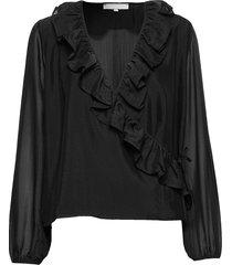 ava ls top blouse lange mouwen zwart soft rebels