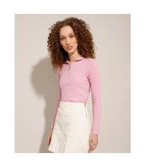 blusa canelada com zíper de argola manga longa gola alta lilás