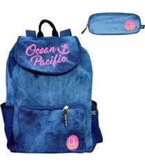 mochila ocean pacific azul opm181902 com estojo