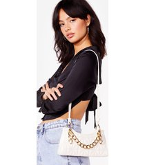 womens want my chain squeeze shoulder bag - white