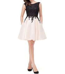 dislax sleeveless lace appliques satin open back homecoming dresses cocktail gow