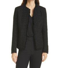 women's helene berman ete fringe crop tweed jacket, size x-small - black