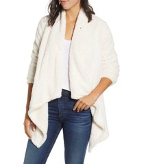 women's bobeau drape front faux fur cardigan, size xx-small - ivory