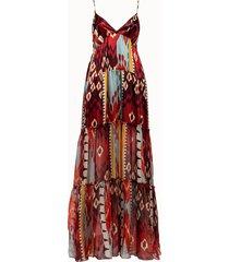 forte forte abito in lino e seta satin multicolor