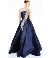 glamour by terani juniors' embellished one-shoulder gown