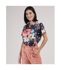 blusa feminina ampla estampada floral manga curta decote redondo azul escuro