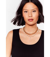 womens crossing paths pearl-inspired chain necklace - gold
