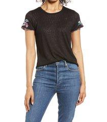 women's bobeau embroidered sleeve t-shirt, size small - black