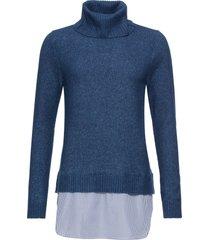 maglione a collo alto con inserto di camicia (blu) - bodyflirt