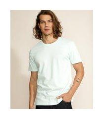 camiseta masculina básica com bordado manga curta gola careca azul claro