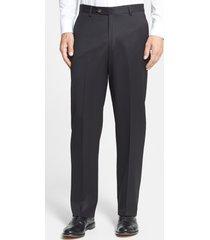 men's berle flat front classic fit wool gabardine dress pants, size 38 x unh - black