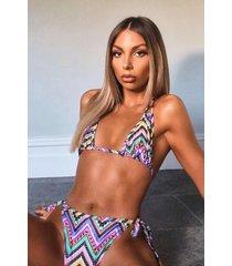 neon aztec tie side triangle bikini, purple