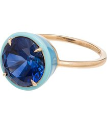 alison lou 14kt gold cocktail sapphire ring - yellow gold