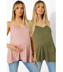zwangerschap swing hemdje (2 stuks), khaki