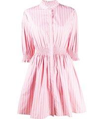 msgm vertical-stripe shirt dress - pink