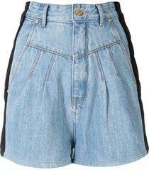 amapô two-tone denim shorts - blue