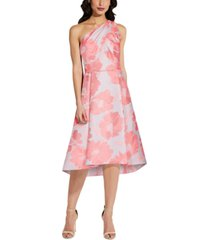 adrianna papell one-shoulder floral a-line dress