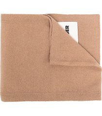 jil sander logo patch cashmere scarf - neutrals