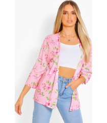 tropical print kimono, pink