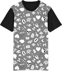 camiseta migian caveiras diamantes tattoo sublimada cinza - cinza - dafiti