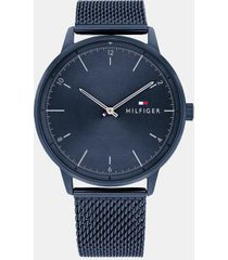 tommy hilfiger men's blue ion-plated icon watch wi mesh bracelet navy -