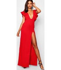 maxi jurk met diepe v-hals, ruches en split, rood