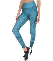 calça legging com proteção solar uv fila double print dupla face - feminina - azul