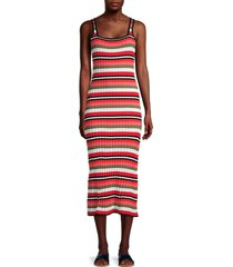 solid and striped women's kimberly striped dress - watermelon - size m