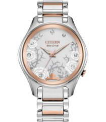 citizen eco-drive women's aurora diamond-accent two-tone stainless steel bracelet watch 36mm