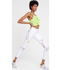 floral print leggings - white - l