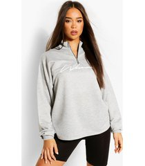 woman sweater met tekst, geplooide nek en rits, grijs gemêleerd